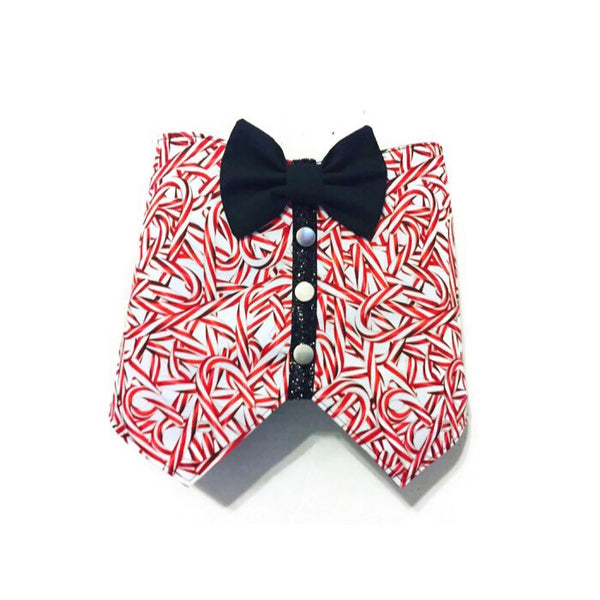 Candy Cane Bow Tie Vest - Snort Life  - 1