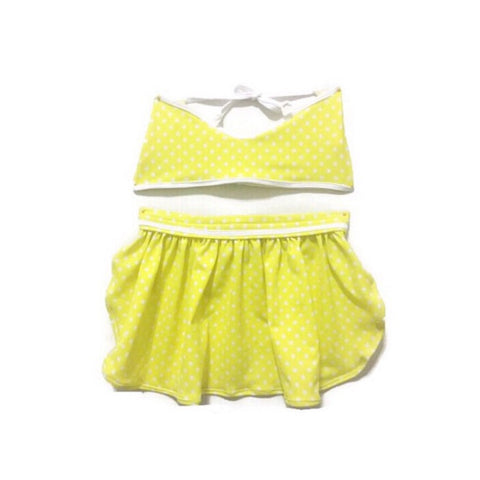 Yellow Polkadot Skirted Bikini
