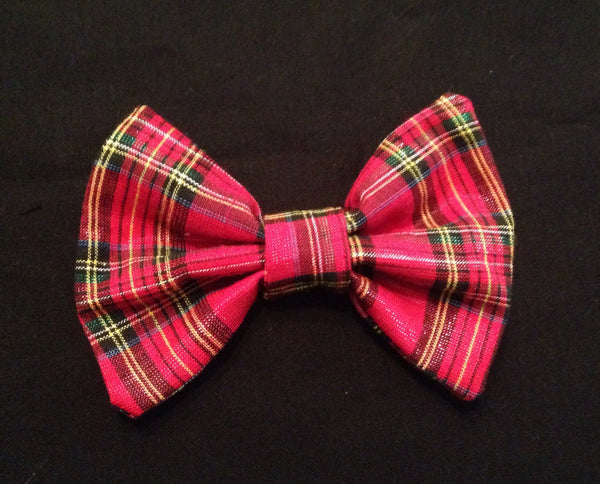 Christmas Plaid Shirt Collar Bow Tie Set - Snort Life, Mini Pig Clothes