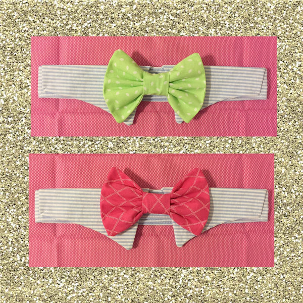 Seersucker Sunday Bow Tie Collar Set - Snort Life, Mini Pig Clothes