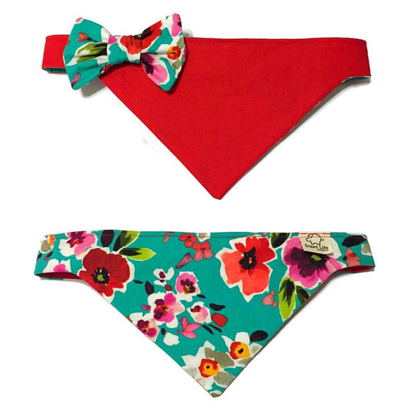 Poppies & Posies Reversible Bow Bandana - Snort Life  - 1