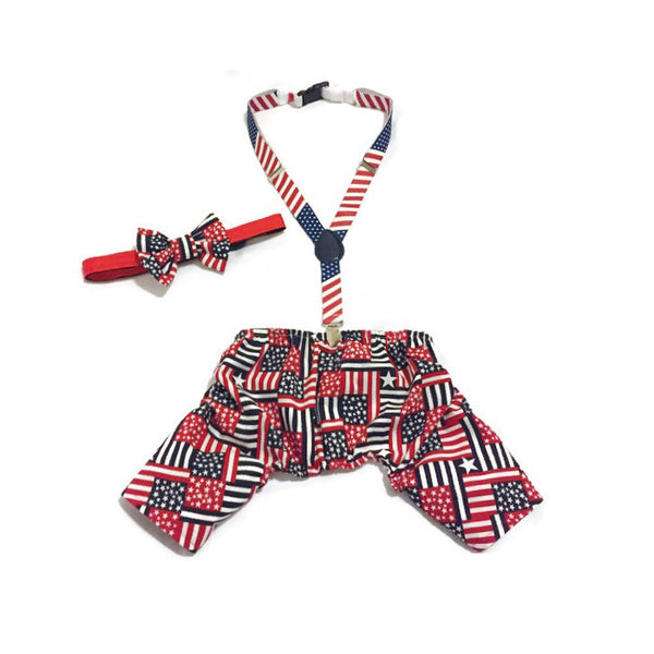 Patriotic Party Boy Pants & Bow Tie Collar Set - Snort Life  - 1