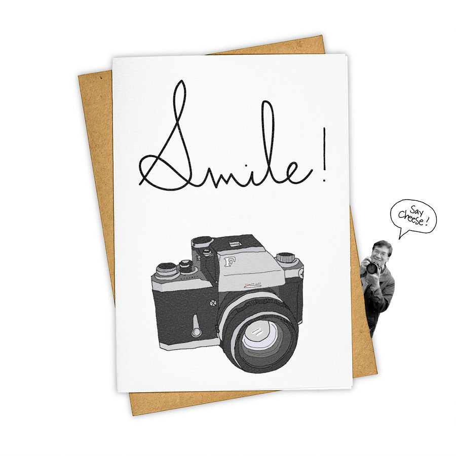 TAY HAM Hipster Photographer Camera Smile Fashion Greeting Card