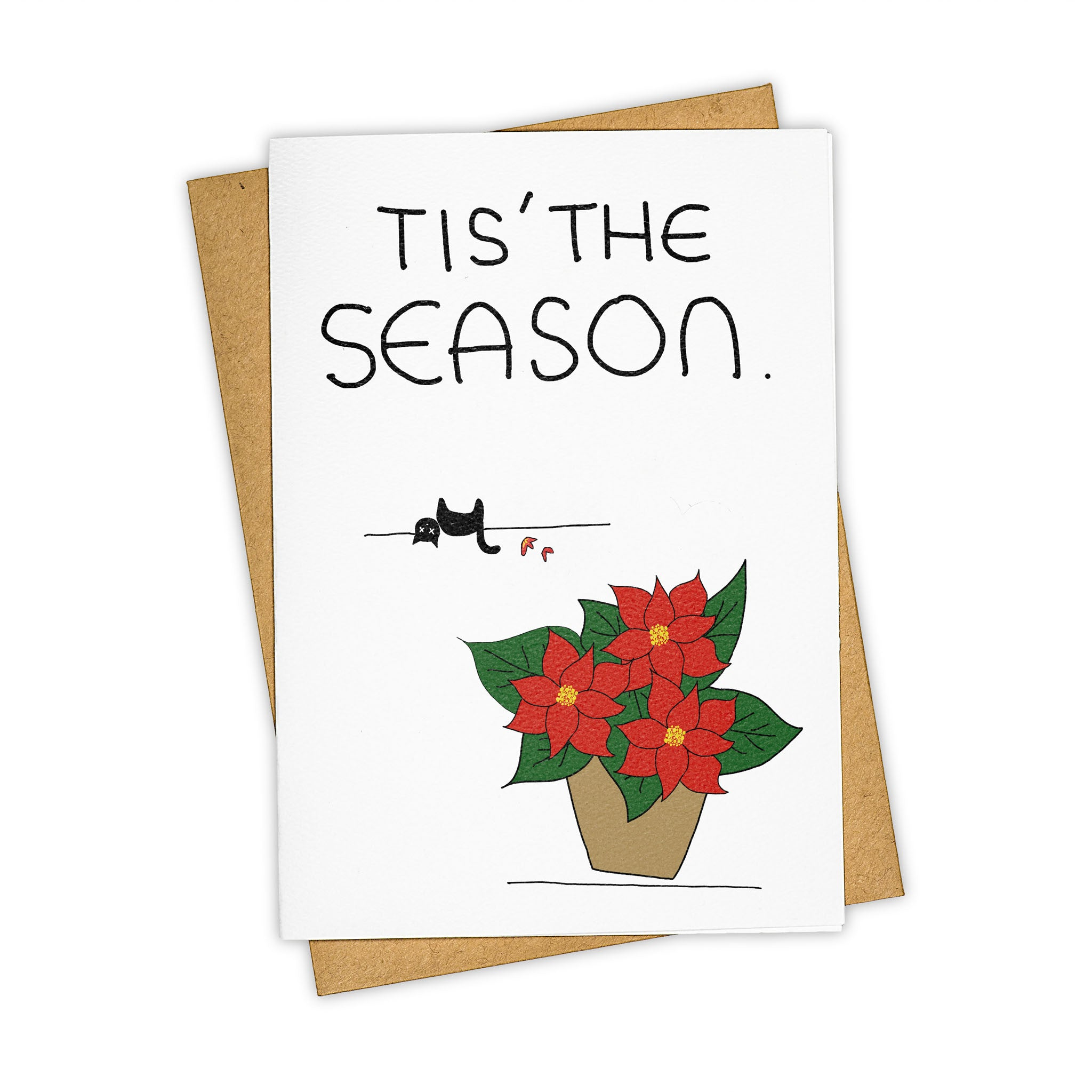 TAY HAM Poinsettia Poison Greeting Card Christmas Quirky