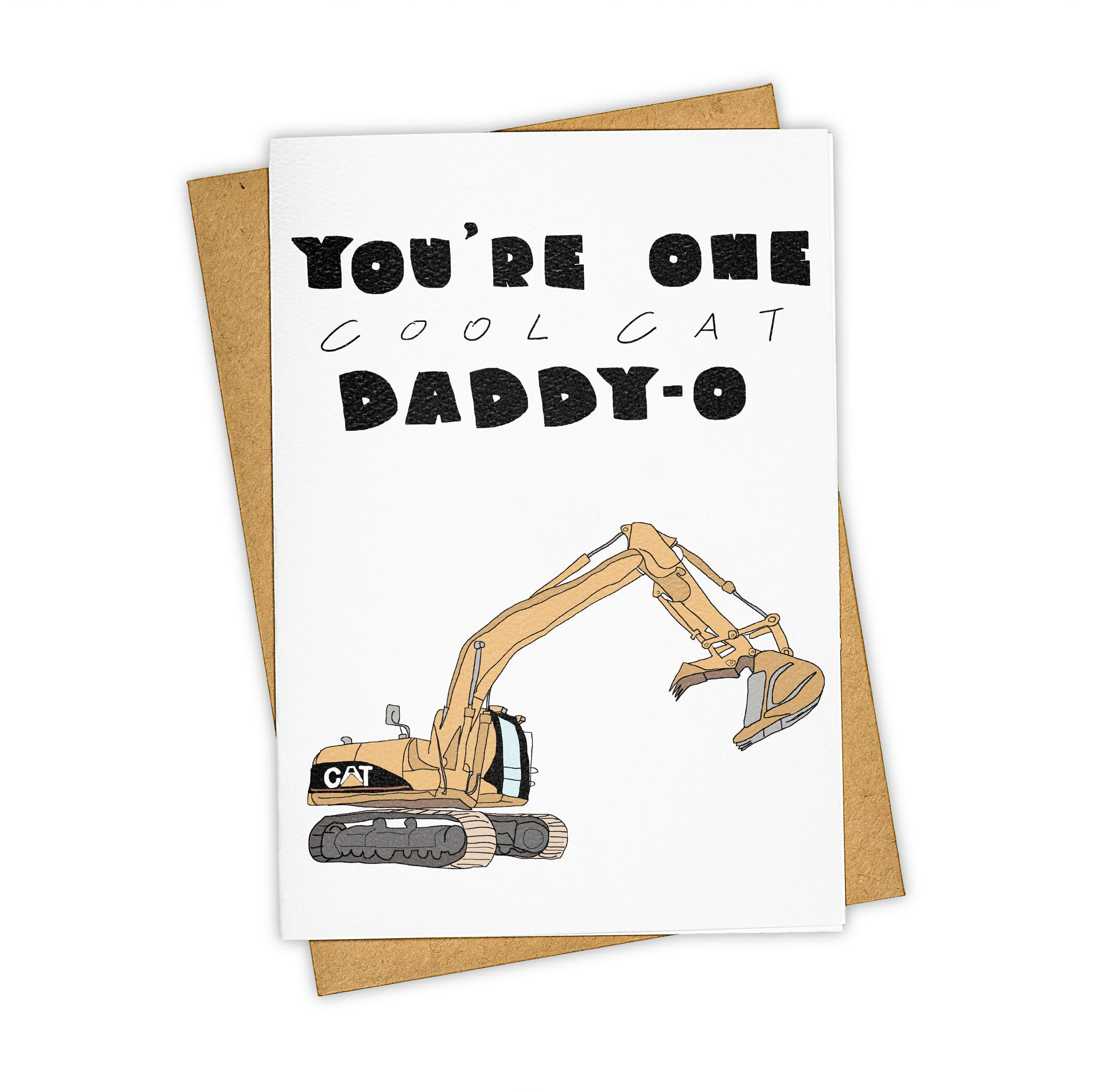 TAY HAM Father's Day Catepillar Cat Backhoe Greeting Card