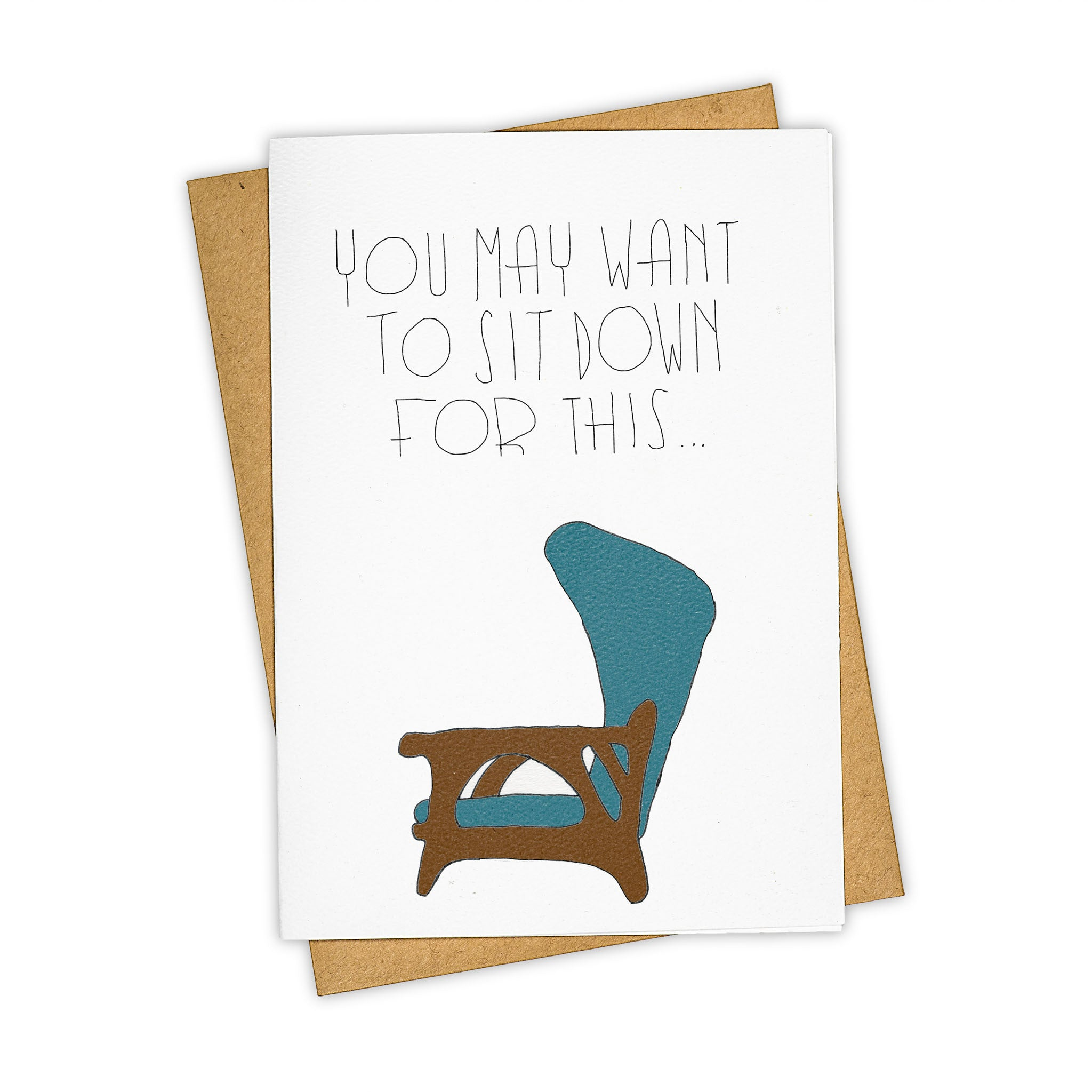 TAY HAM Blue Chair Mid Century Vintage Friendship Card