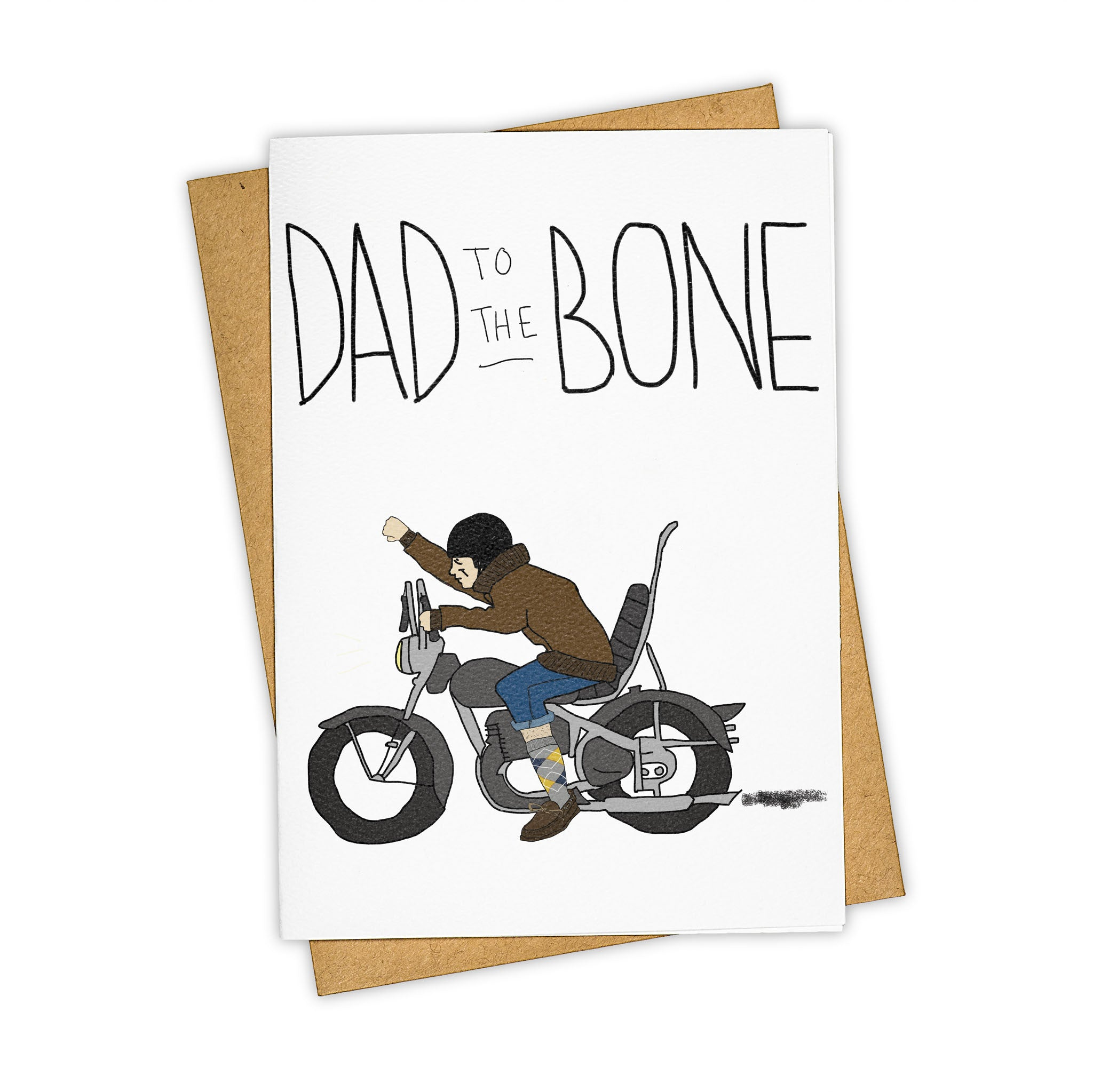 TAY HAM Motorcycle Father's Day Dad Bad to the Bone Card