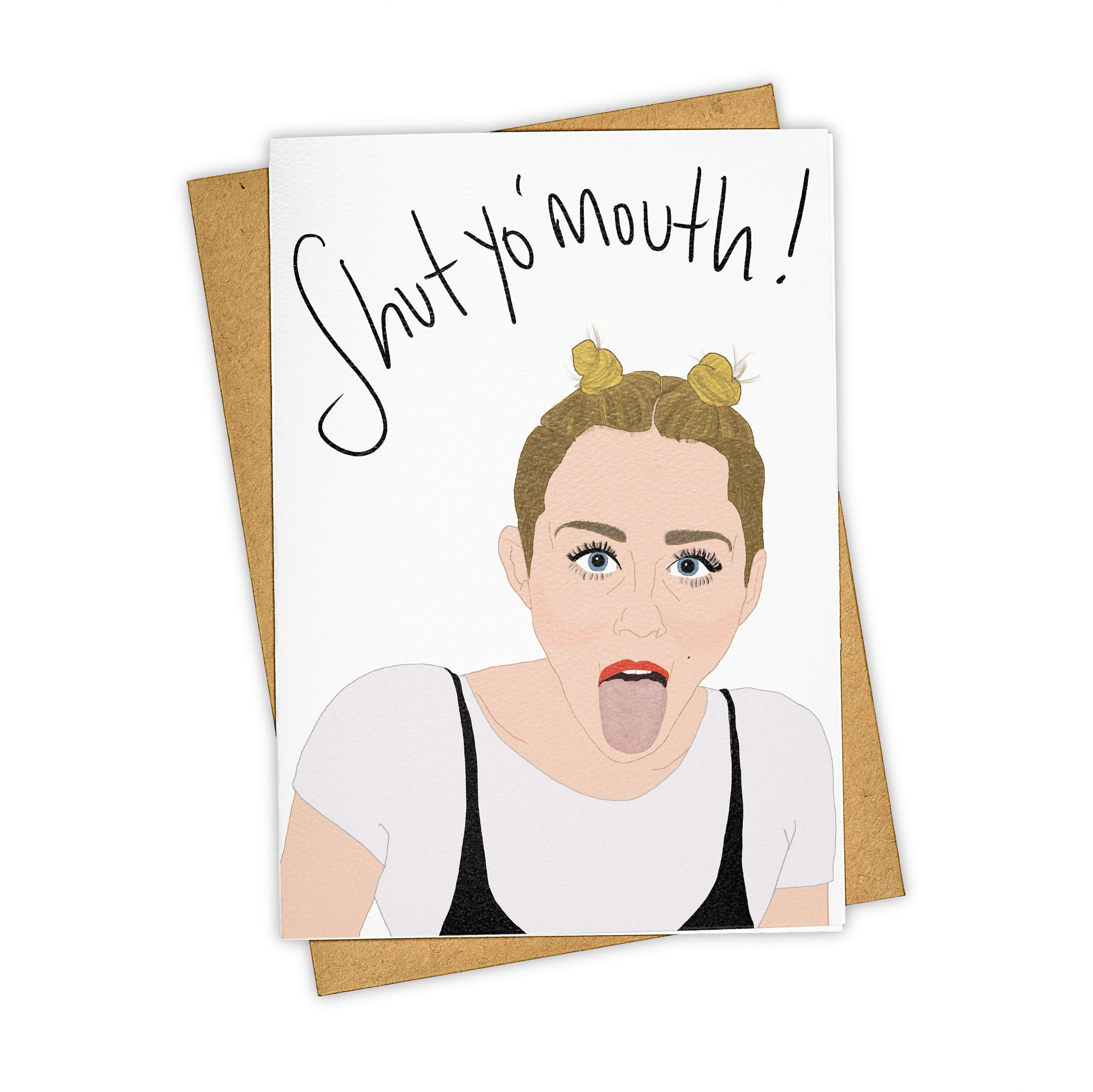 TAY HAM Miley Cyrus Tongue Greeting Card