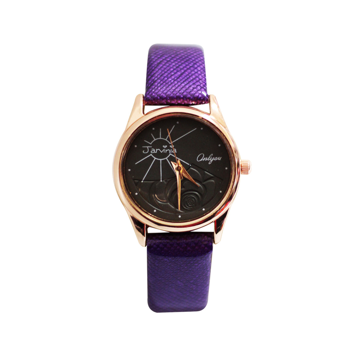 Onlyou Casual Analog Leather Watch For Women - Purple