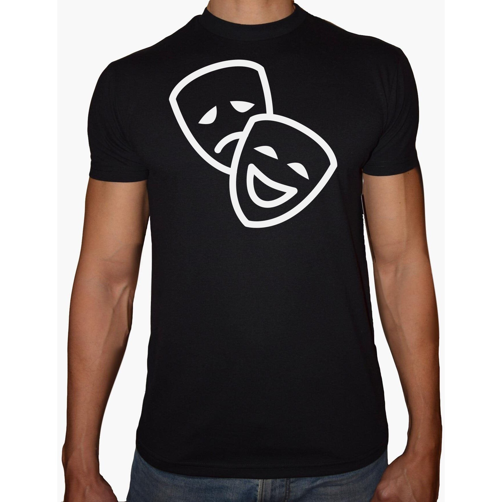 Phoenix BLACK Round Neck Printed T-Shirt Men (Faces )