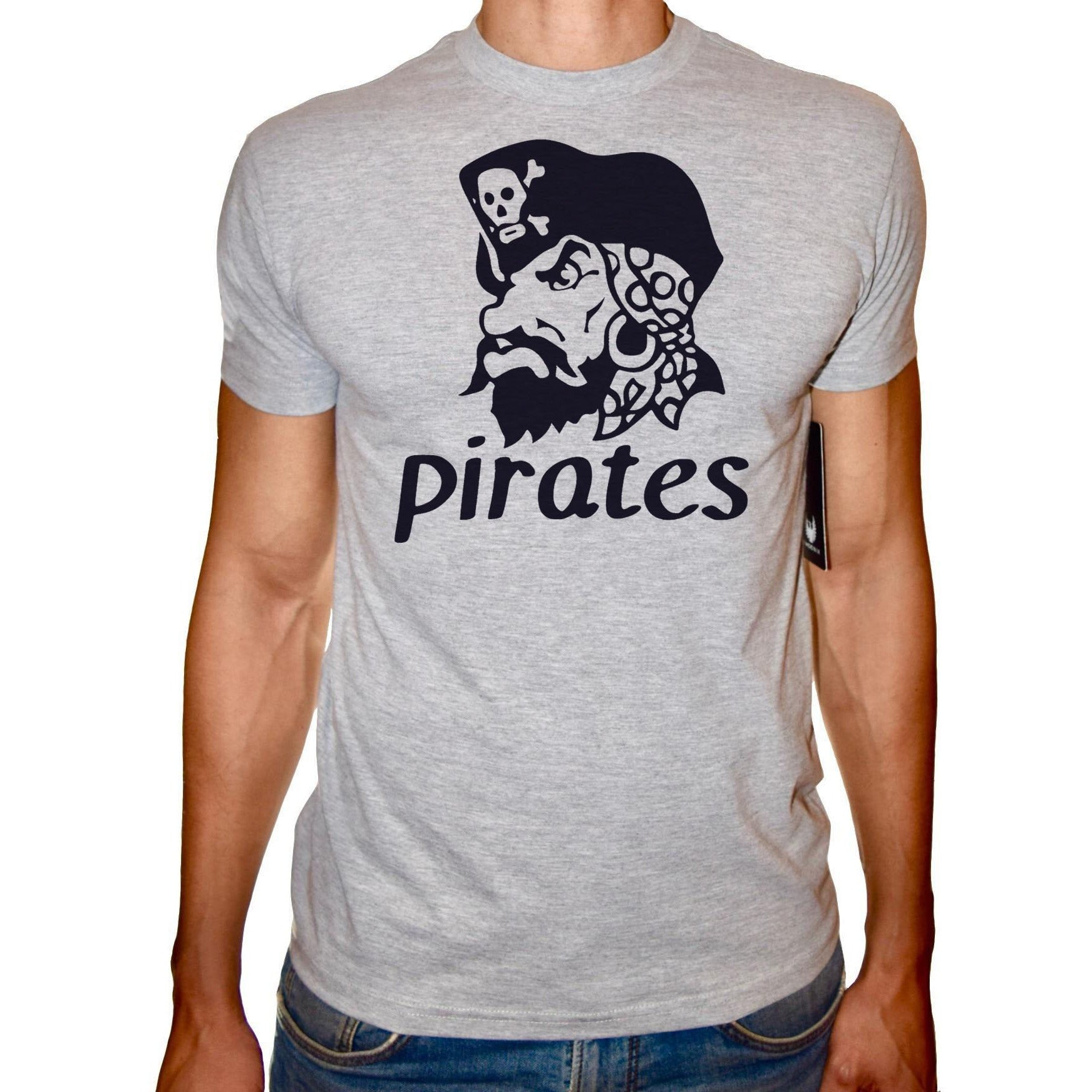 Phoenix GREY Round Neck Printed T-Shirt Men (Pirates )