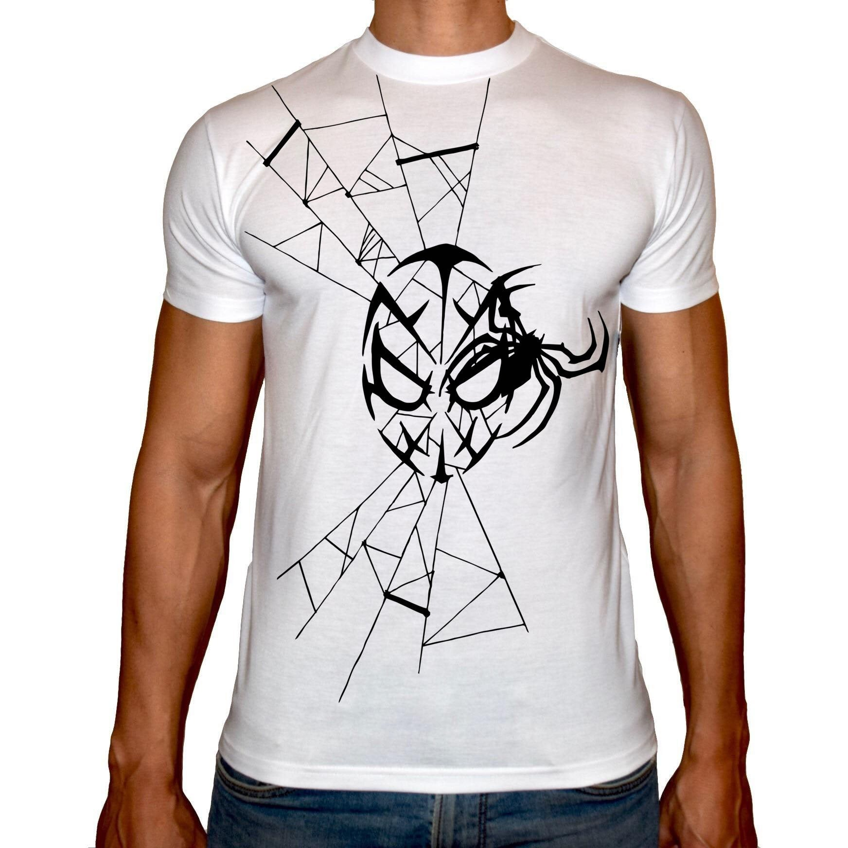 Phoenix WHITE Round Neck Printed T-Shirt Men (Spiderman)