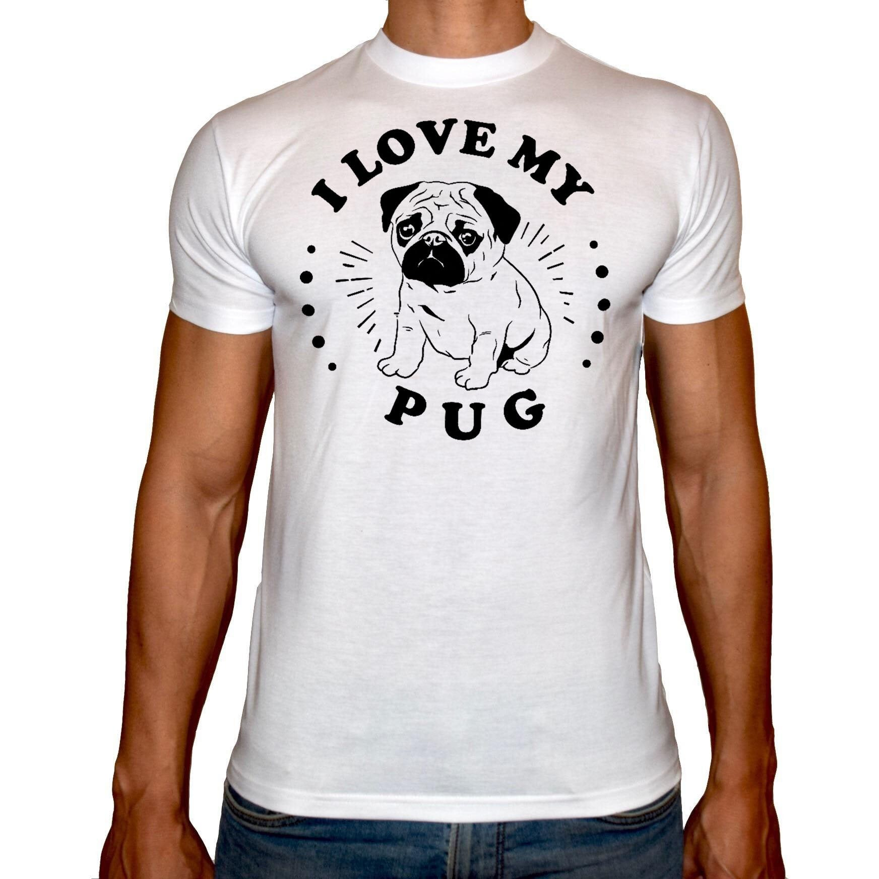 Phoenix WHITE Round Neck Printed T-Shirt Men (Pug)