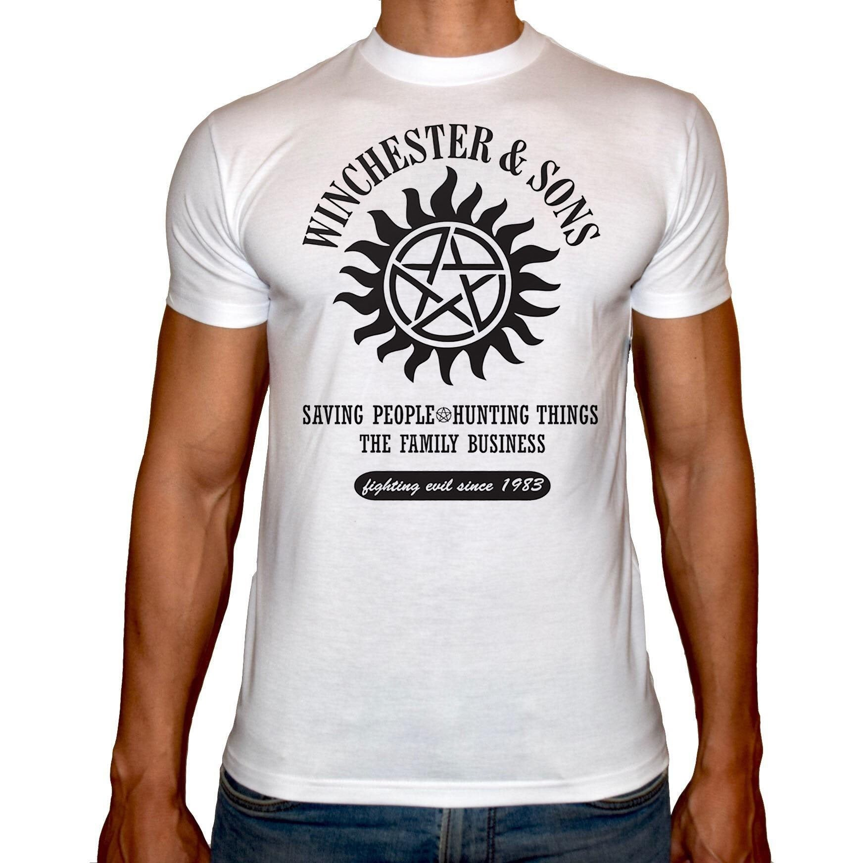 Phoenix WHITE Round Neck Printed T-Shirt Men (Supernatural)