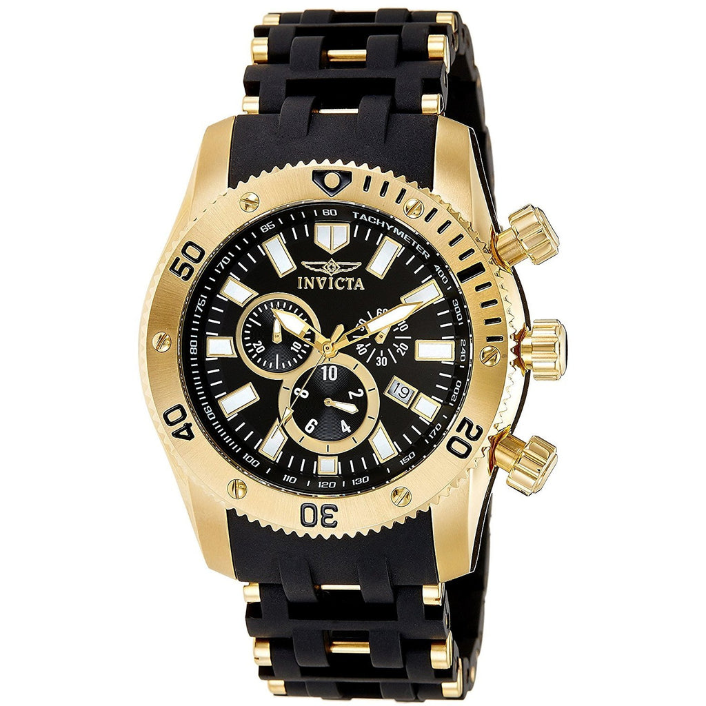 Invicta Men's 0140 Sea Spider Collection 18k Gold Ion-Plated and Black Polyurethane Watch - 3alababak