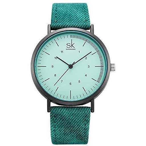 SK Lady Watch Leather Watchband Simple Decent Casual Fashion Women Wristwatch Waterproof Watches Dial K8020­ Green