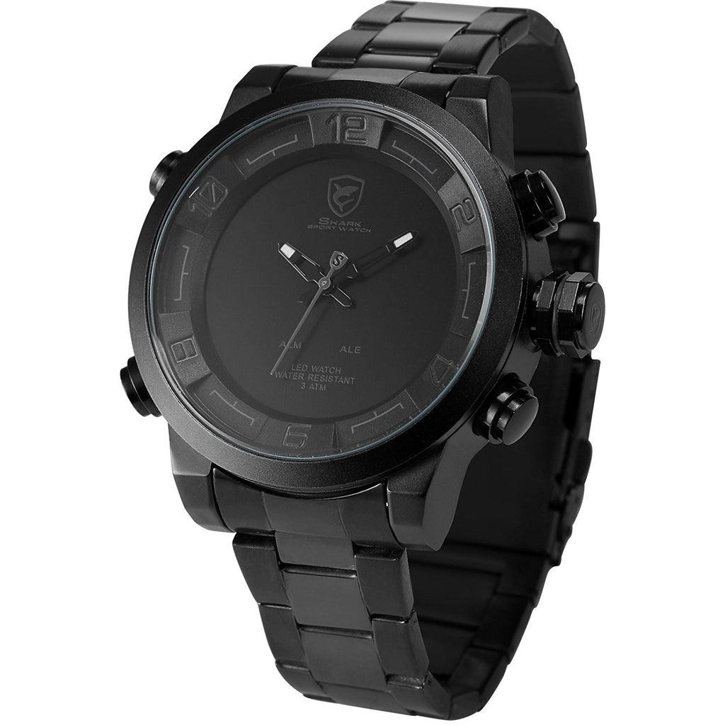 Shark Men's Quartz Watch SH364 Analog  LED Alarm Date Day Display Black Steel Band - 3alababak