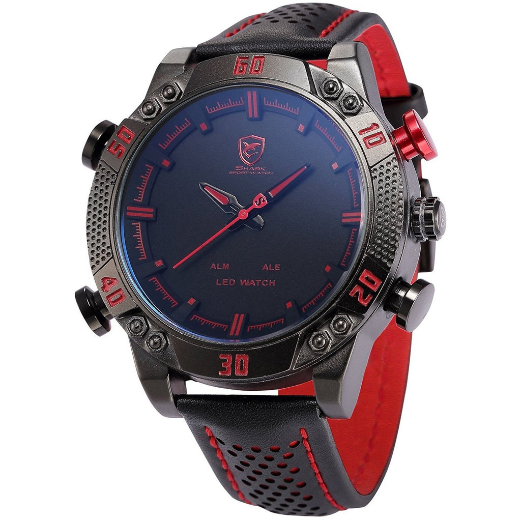 Shark Men's LED Date Day Alarm Digital Analog Quartz Black Leather Band Wrist Watch SH261 - 3alababak