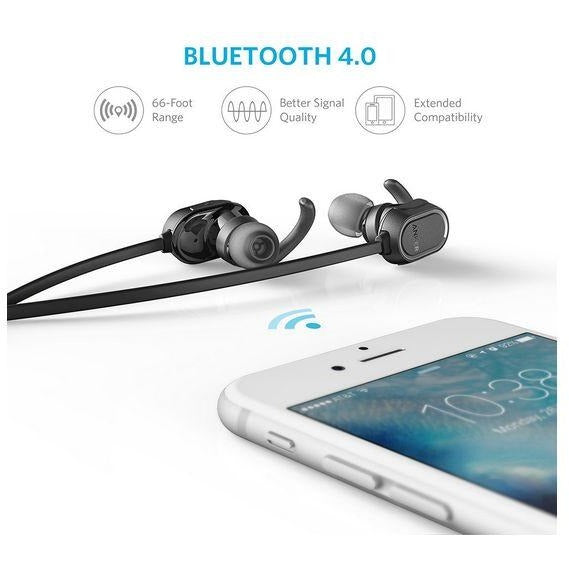 Anker SoundBuds In-Ear Sport Earbuds, Magnetic Wireless Bluetooth Headphones Black - 3alababak