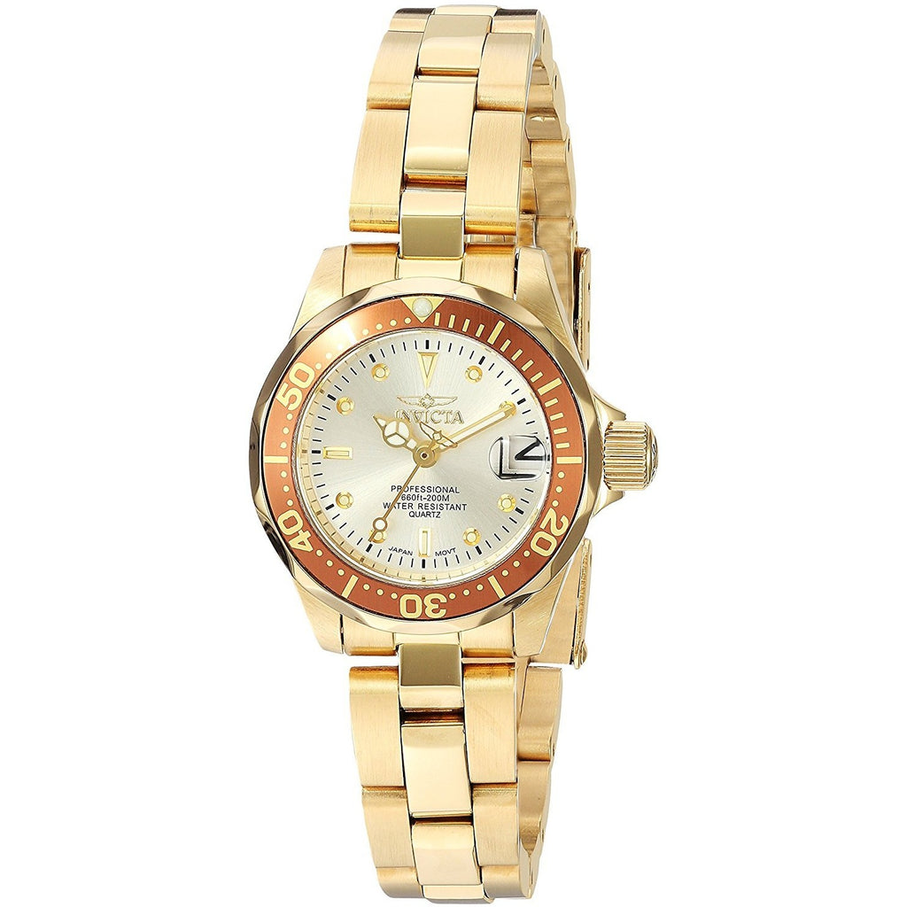 Invicta Women's 12527 Pro-Diver 18k Gold Ion-Plated Stainless Steel and Champagne Dial Bracelet Watch - 3alababak