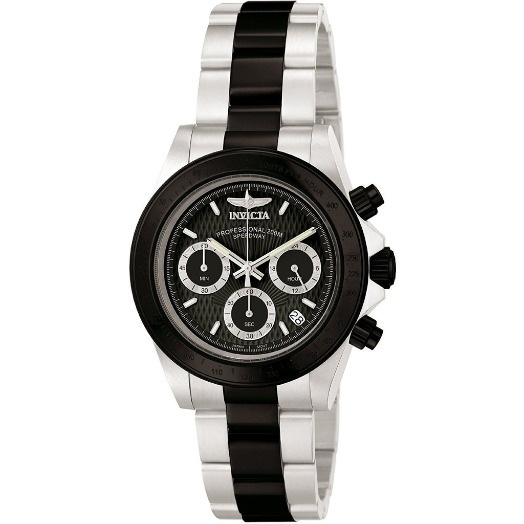 Invicta Men's 6934 Speedway Collection Chronograph Black and Silver Stainless Steel Watch - 3alababak