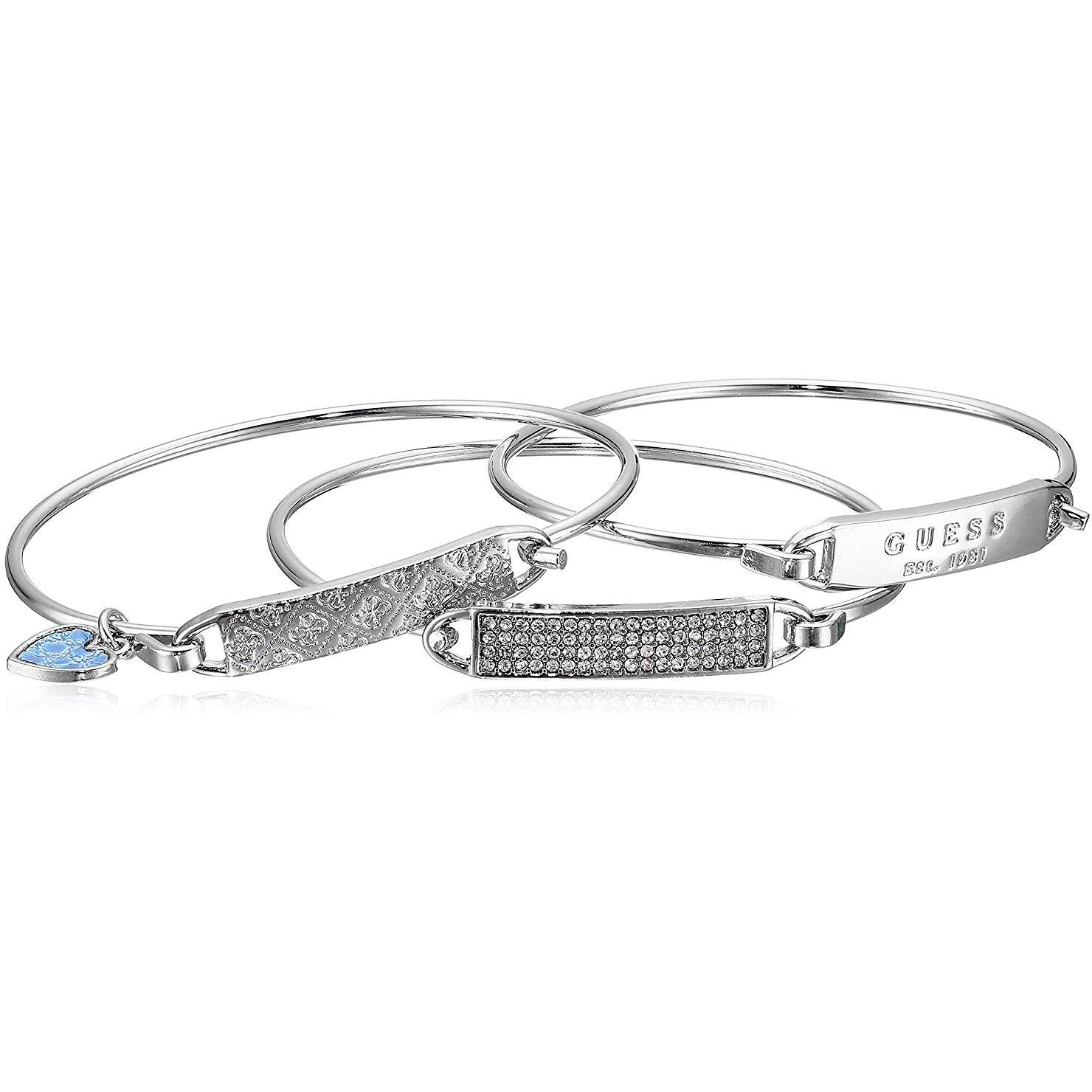 Guess 3 Piece Tension ID Silver Bangle  Bracelet