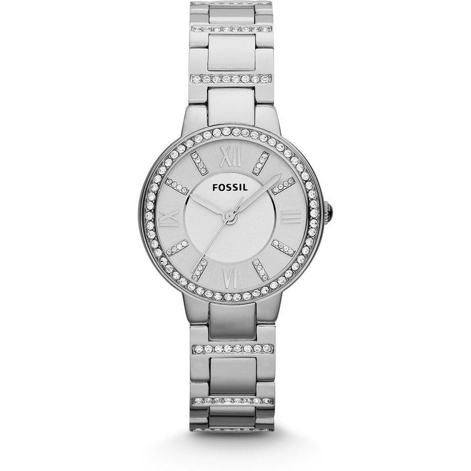 Fossil Women's Virginia Quartz Stainless Steel Dress Watch, Color Silver-Tone