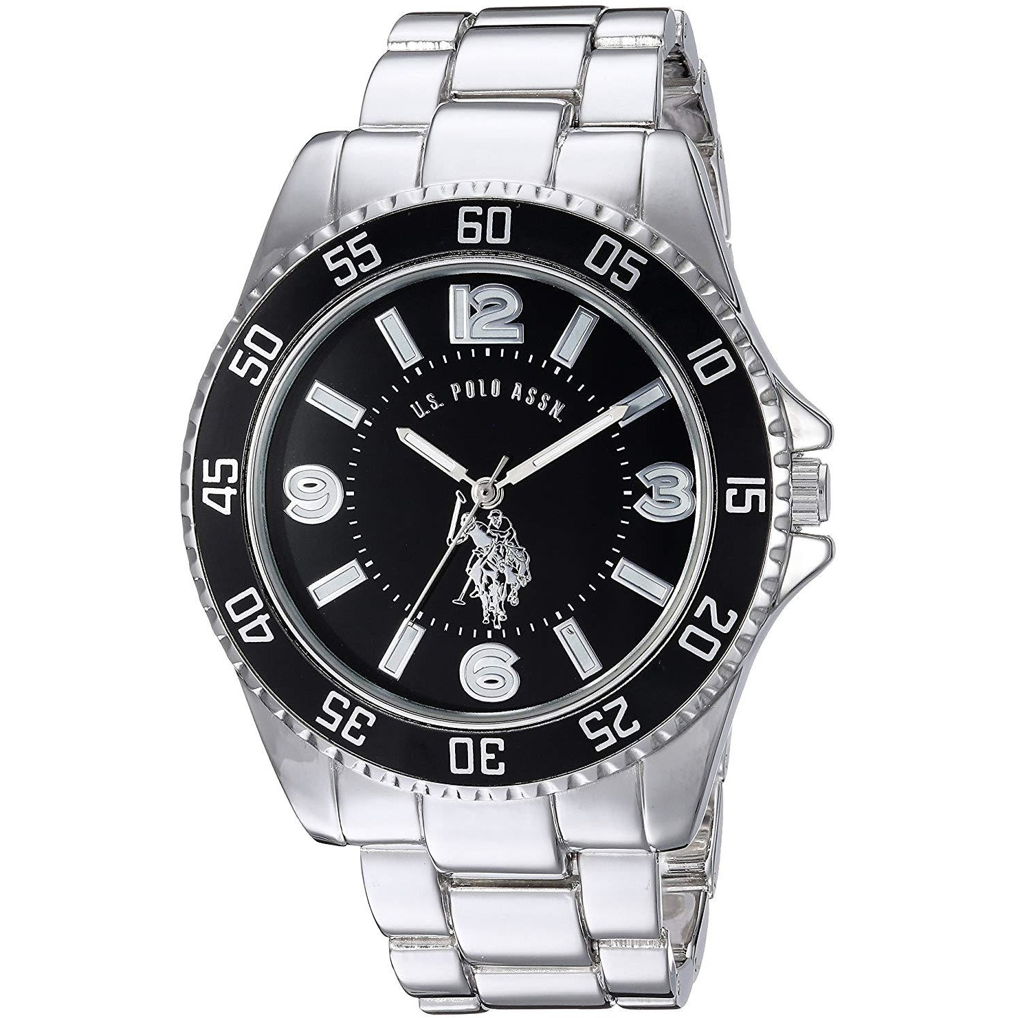 U.S. Polo Assn. USC80515 Men's Silver-Toned Watch with a Black Dial