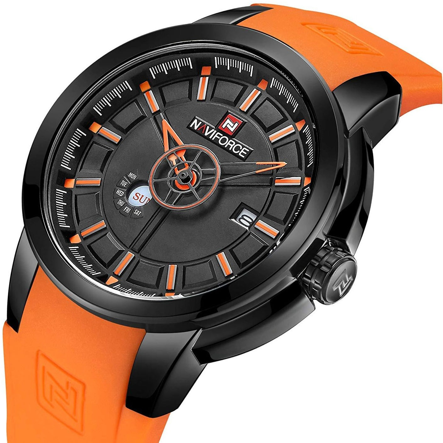 NaviForce Silicone Strap Date Men Quartz Sport Watch Calendar Mens Watches NF9017M