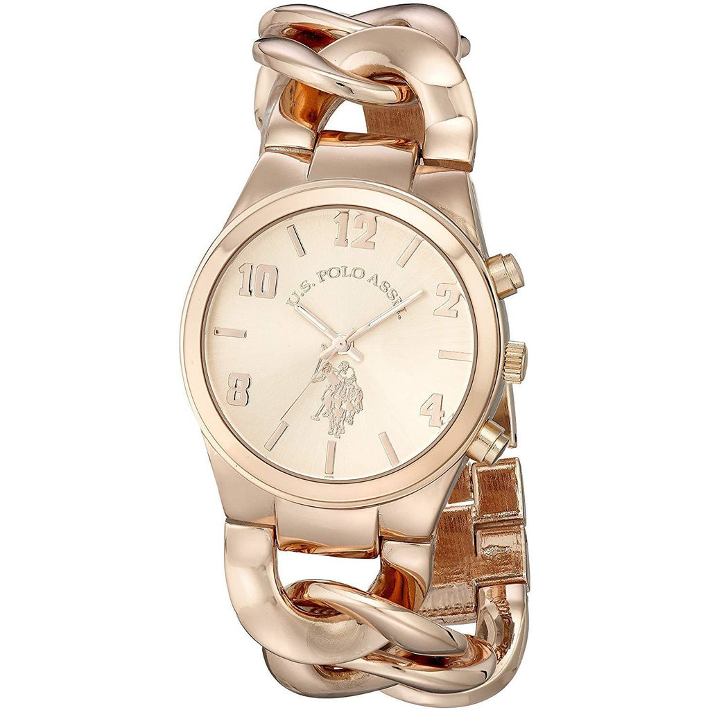 U.S. Polo Assn. Women's USC40070 Rose Gold-Tone Watch with Link Bracelet - 3alababak