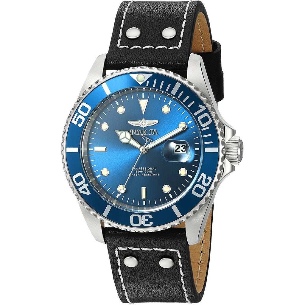 Invicta 22068 Men's 'Pro Diver' Quartz Stainless Steel and Leather Watch