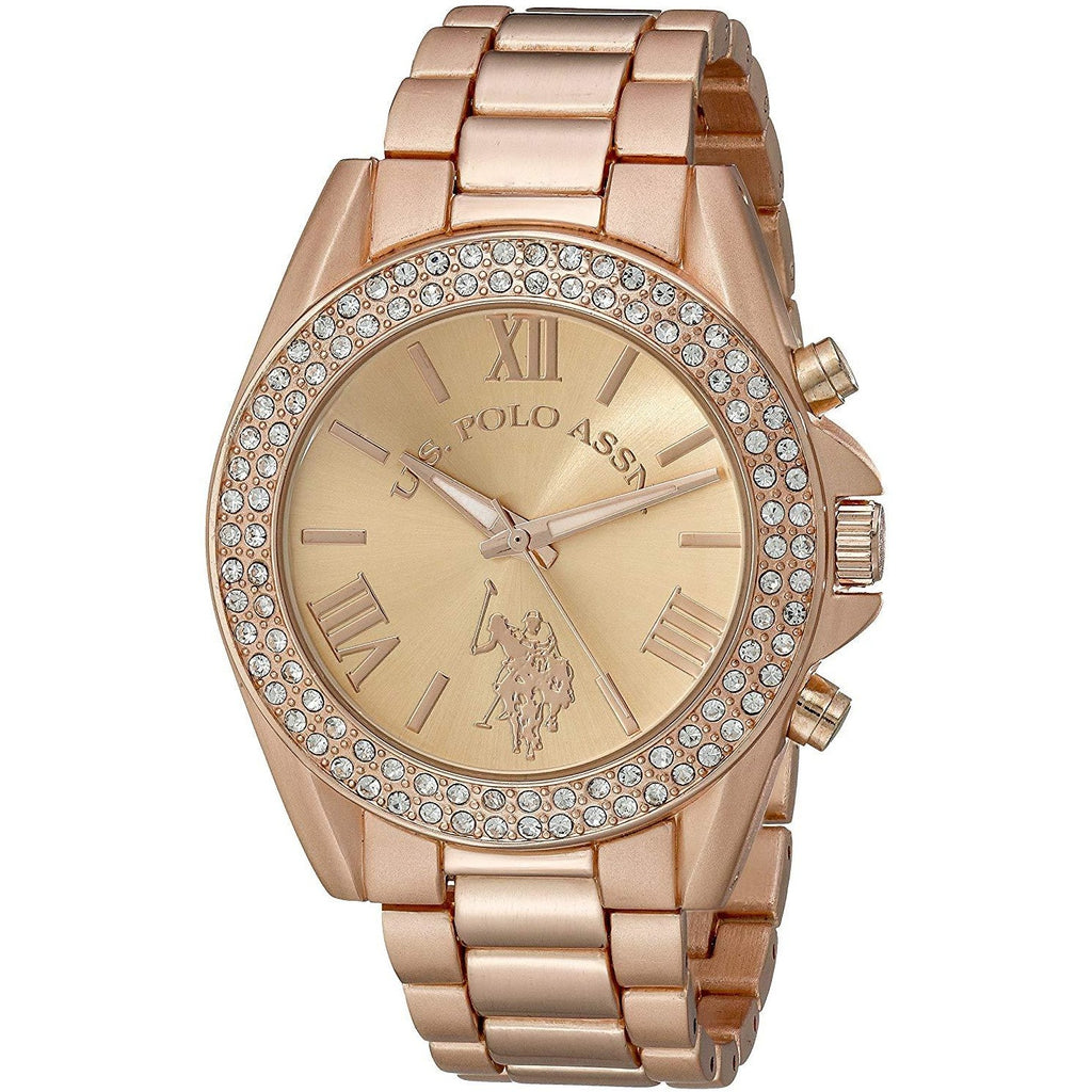 U.S. Polo Assn. Women's USC40037 Rose Gold-Tone Watch with Crystals - 3alababak