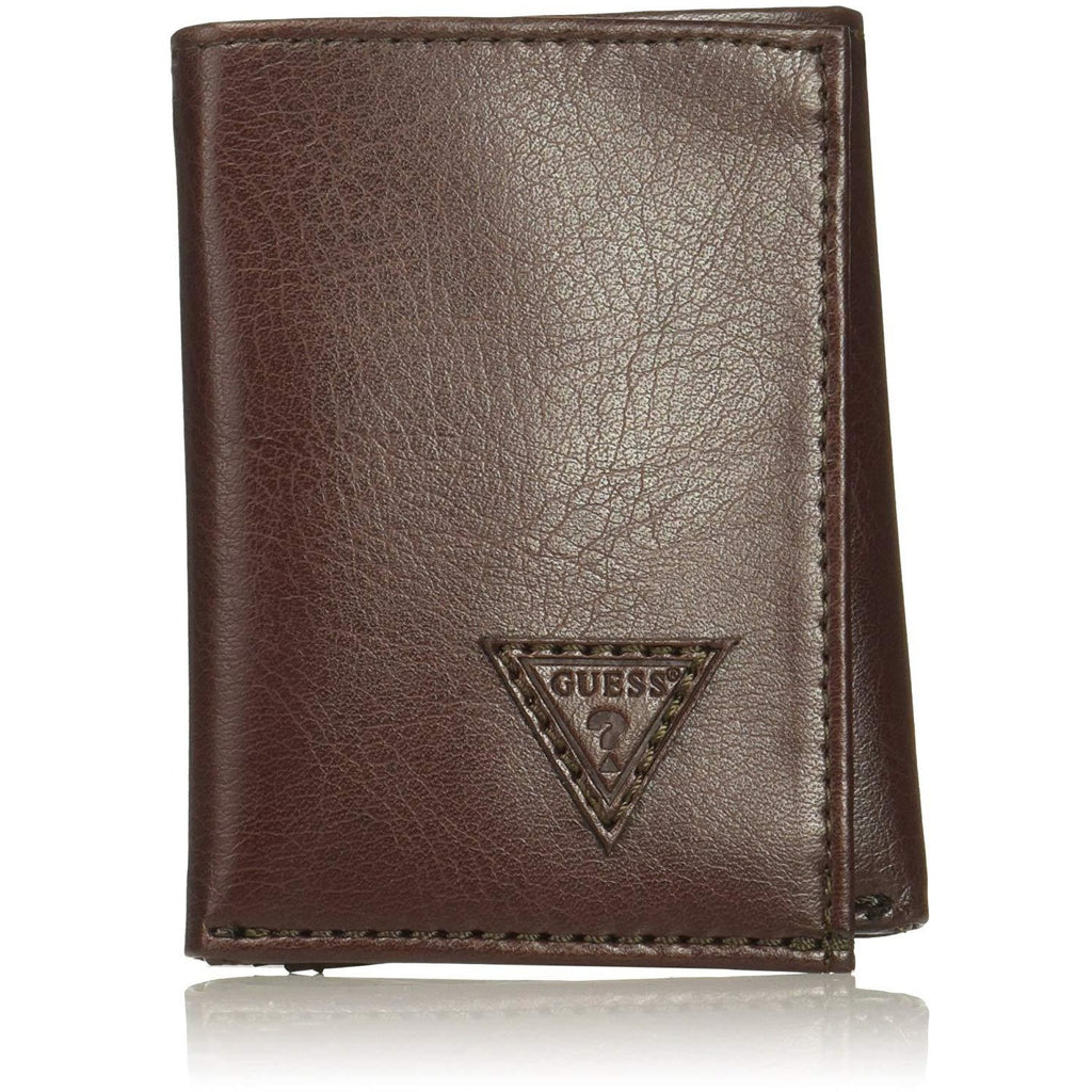 Guess Men's Logo Trifold Wallet, brown, One Size - 3alababak
