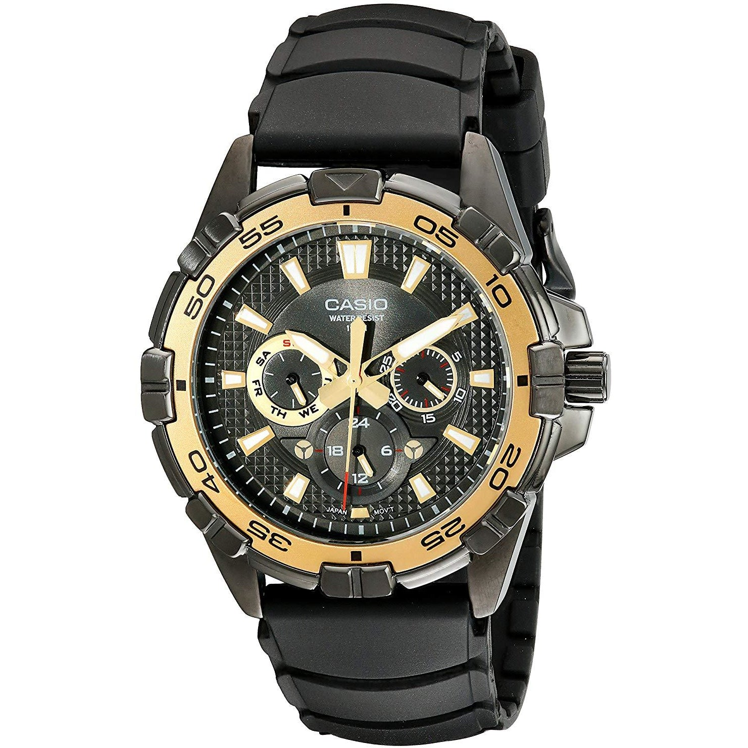 Casio Men's MTD1069B-1A1 Round Analog Black and Gold Dial and Black Resin Strap Watch