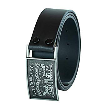 Levi's Men's 1 1/2 in.Plaque Bridle Belt With Snap Closure Black 11LV0253-001