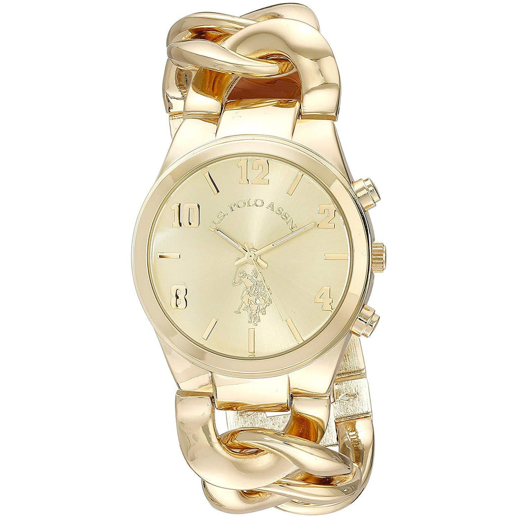 U.S. Polo Assn. Women's USC40069 Gold-Tone Link Bracelet Watch - 3alababak
