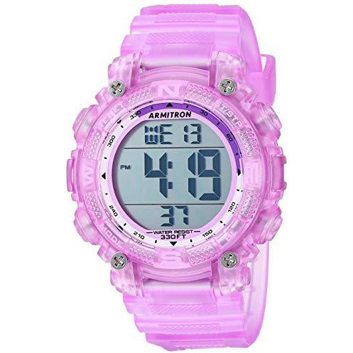 Armitron Sport Women's 45/7099 Digital Chronograph Resin Strap Watch - Purple