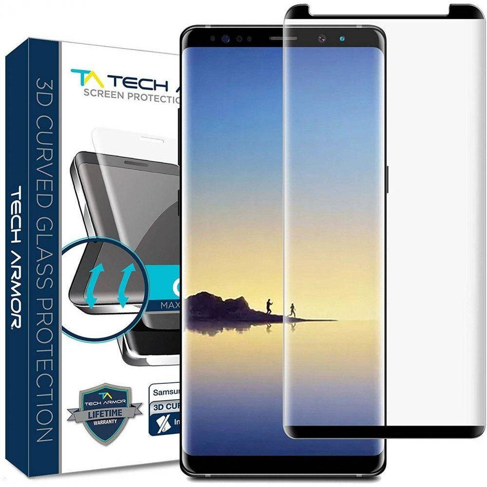 Tech Armor 3D Curved Ballistic Glass, CASE FRIENDLY, Black for Samsung Galaxy Note 8 Glass Screen Protector