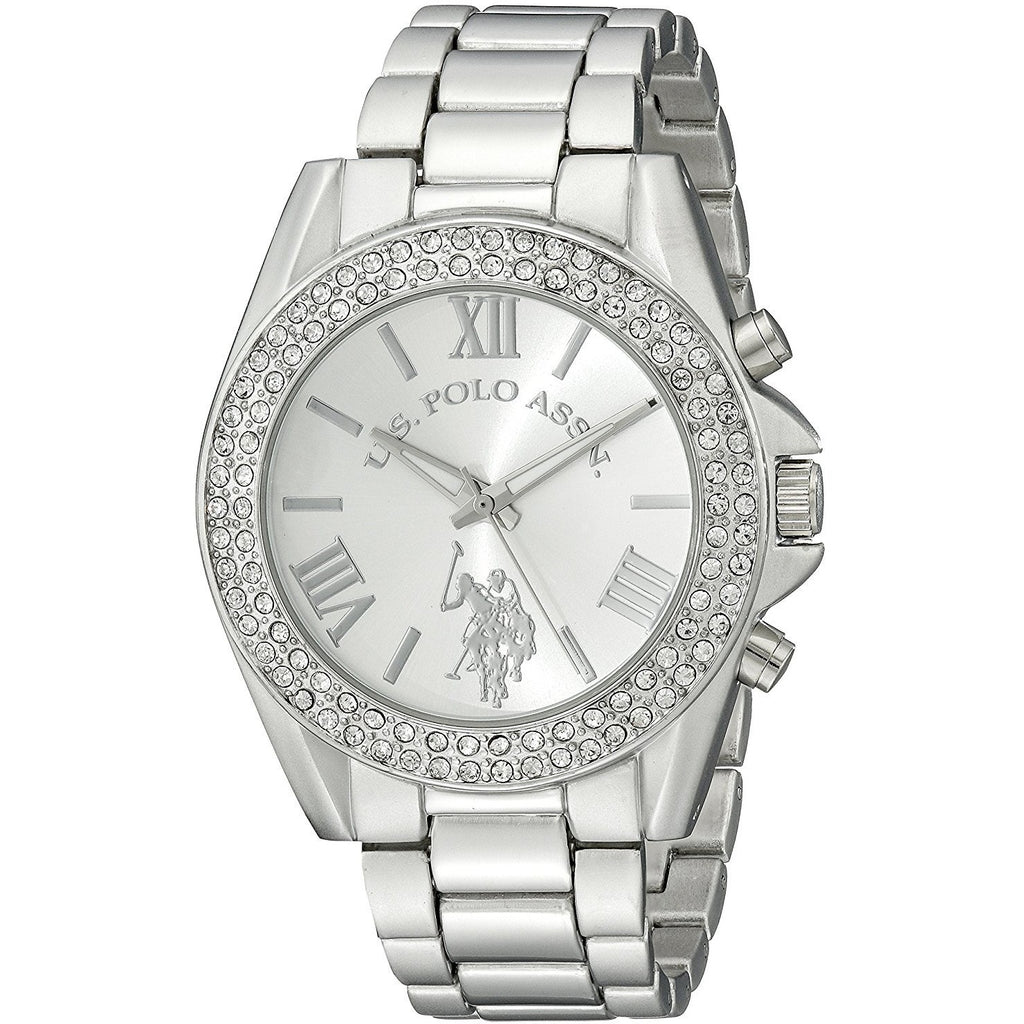 U.S. Polo Assn. Women's USC40035 Rhinestone-Accented Silver-Tone Watch - 3alababak
