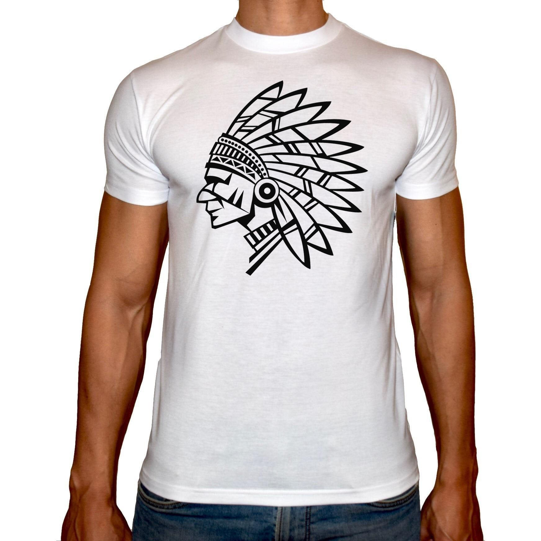 Phoenix WHITE Round Neck Printed T-Shirt Men (Native indian )