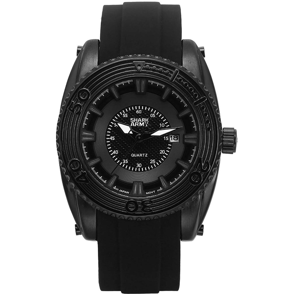 SHARK ARMY Mens Quartz Date Wrist Watch Black Rubber SAW205