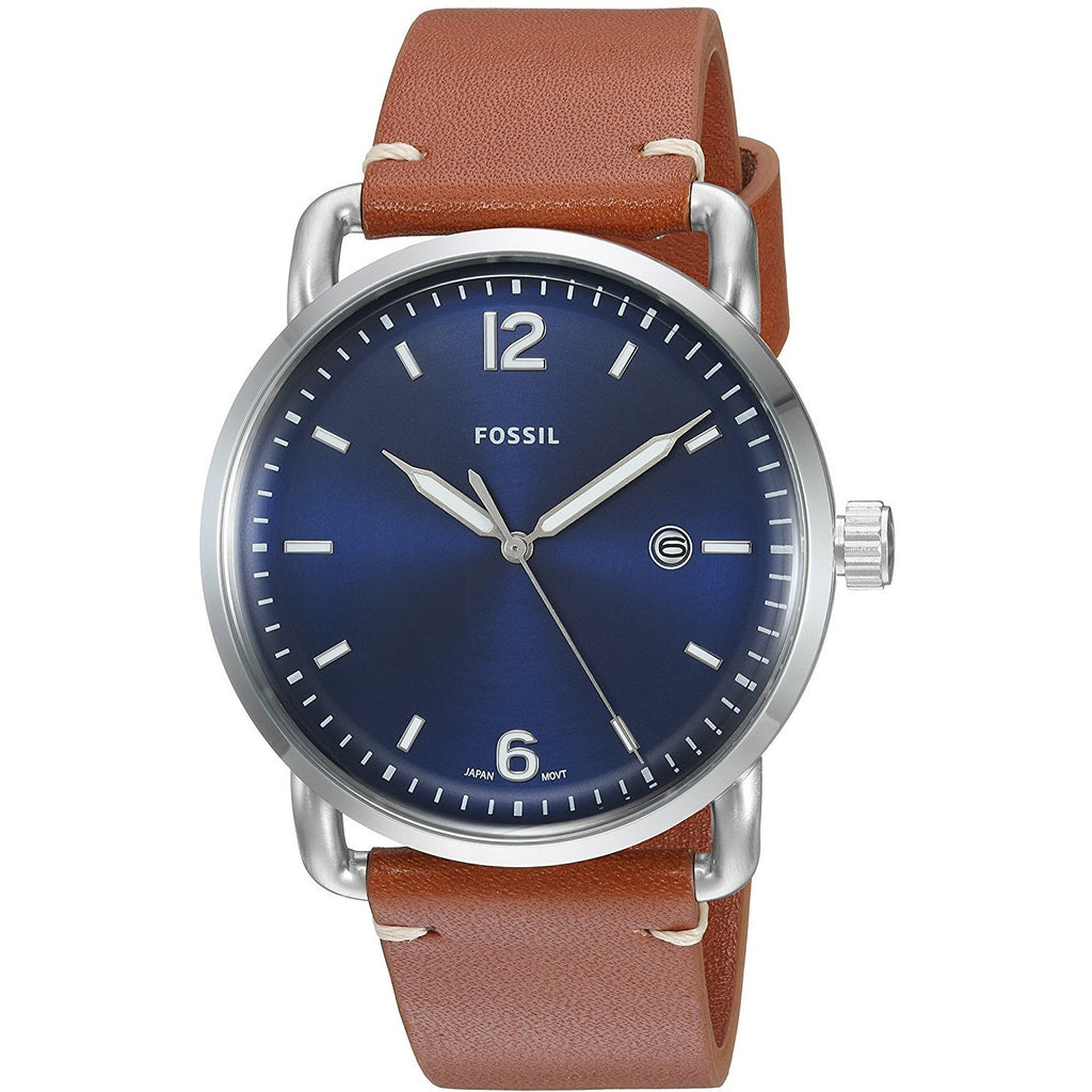 Fossil Men's FS5325 The Commuter Three-Hand Date Luggage Leather Watch