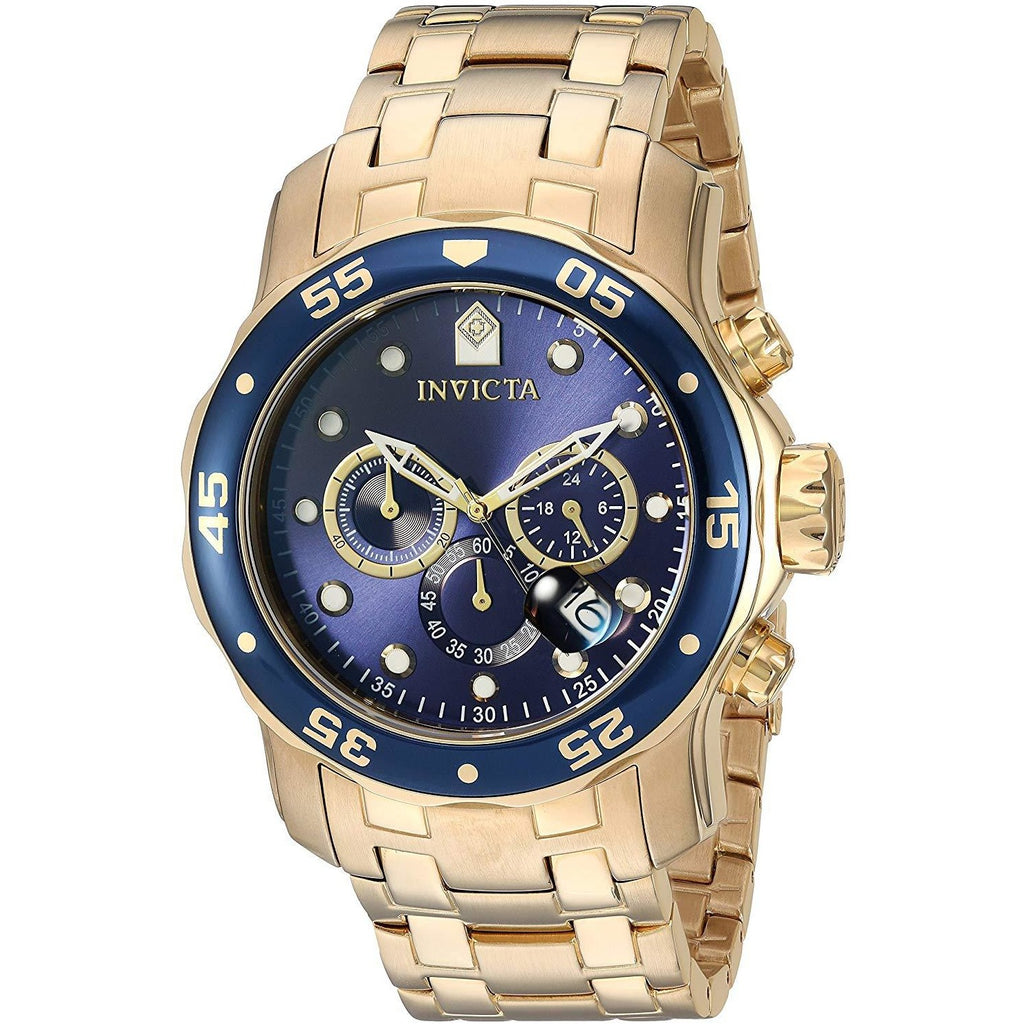 Invicta Men's 0073 Pro Diver Collection Chronograph 18k Gold-Plated Watch with Link Bracelet - 3alababak