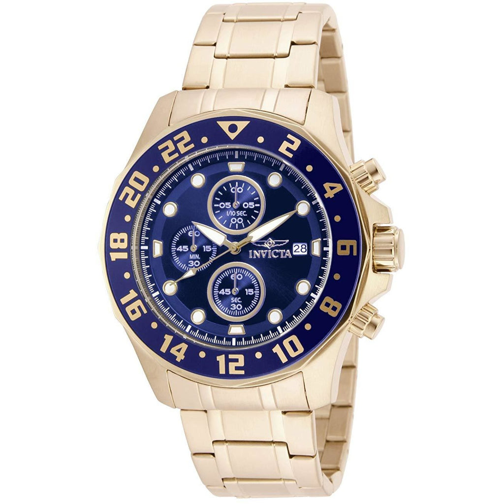 "Invicta Men's 15942 ""Specialty"" 18k Gold  Ion-Plated Stainless Steel Bracelet Watch - 3alababak"