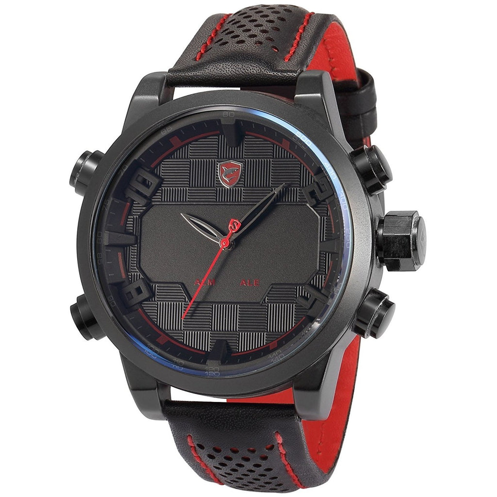 Shark Sport Watch, Sawback Angelshark Men's Digital LED Black Leather Quartz Wrist Watch SH203 Red - 3alababak