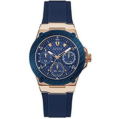 Guess Women U1094L2 Rose Gold-Tone & Iconic Blue Stain Resistant Silicone Watch