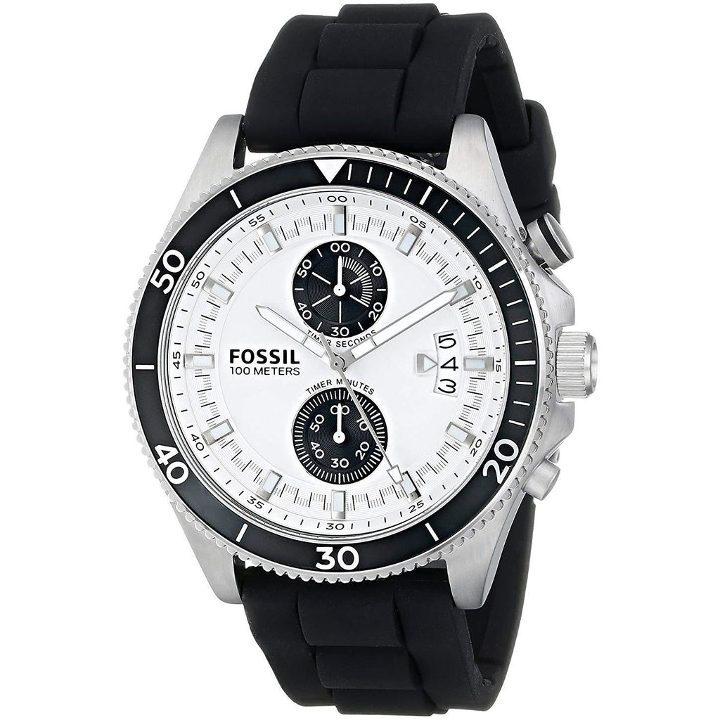 Fossil Wakefield For Men White Dial Silicone Band Watch - CH2933