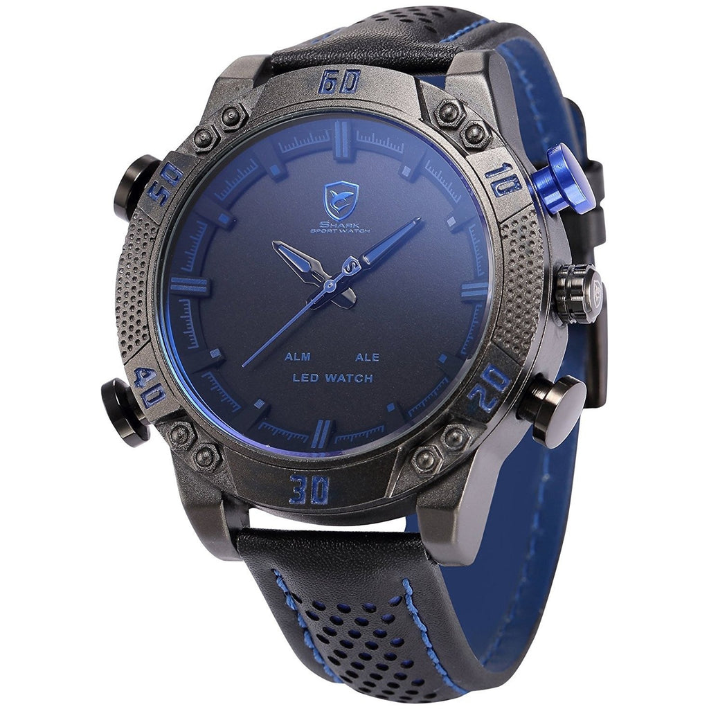 Shark Men's LED Date Day Alarm Digital Analog Quartz Black Leather Band Wrist Watch SH265 - 3alababak