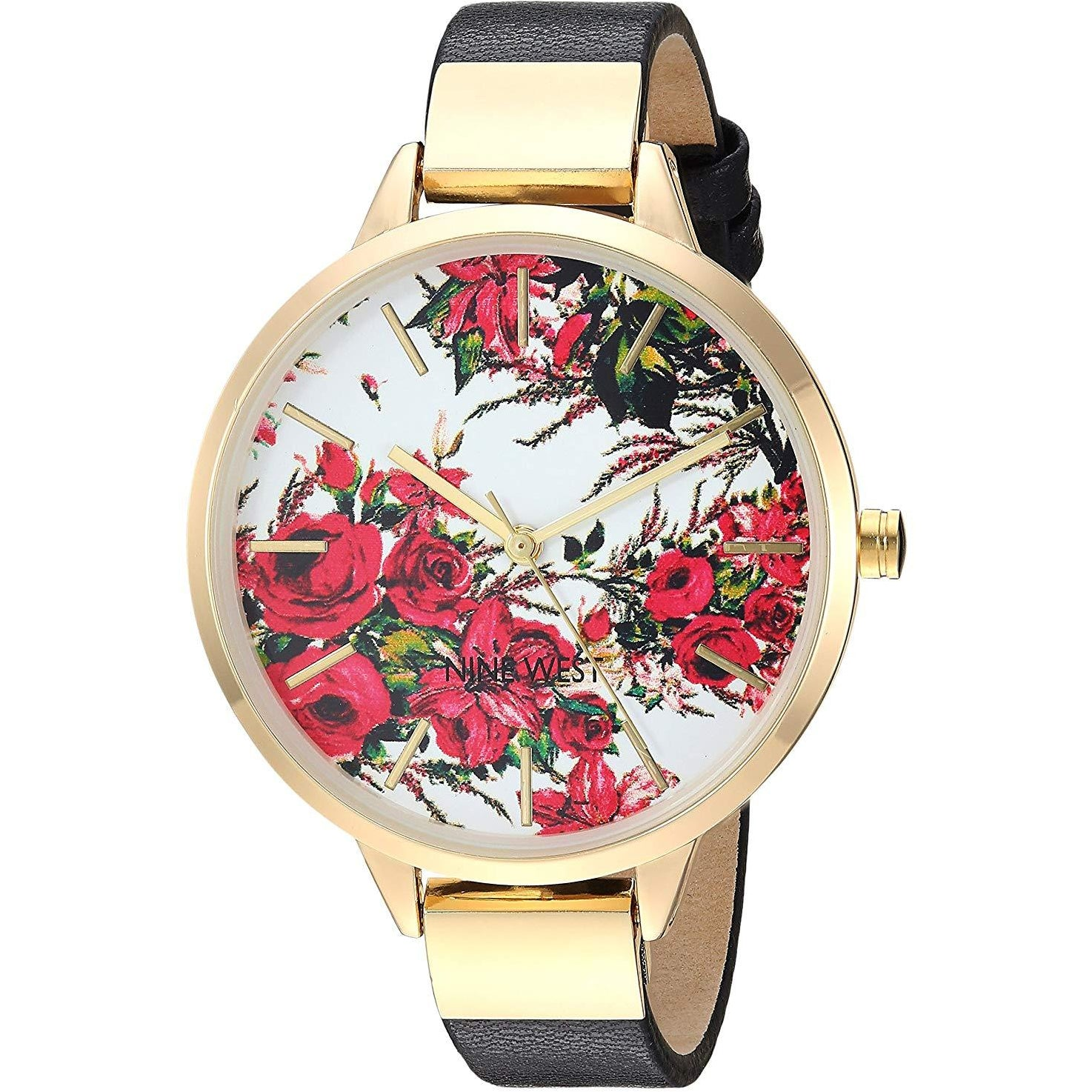Nine West Women's NW/2176 Floral Dial Strap Watch