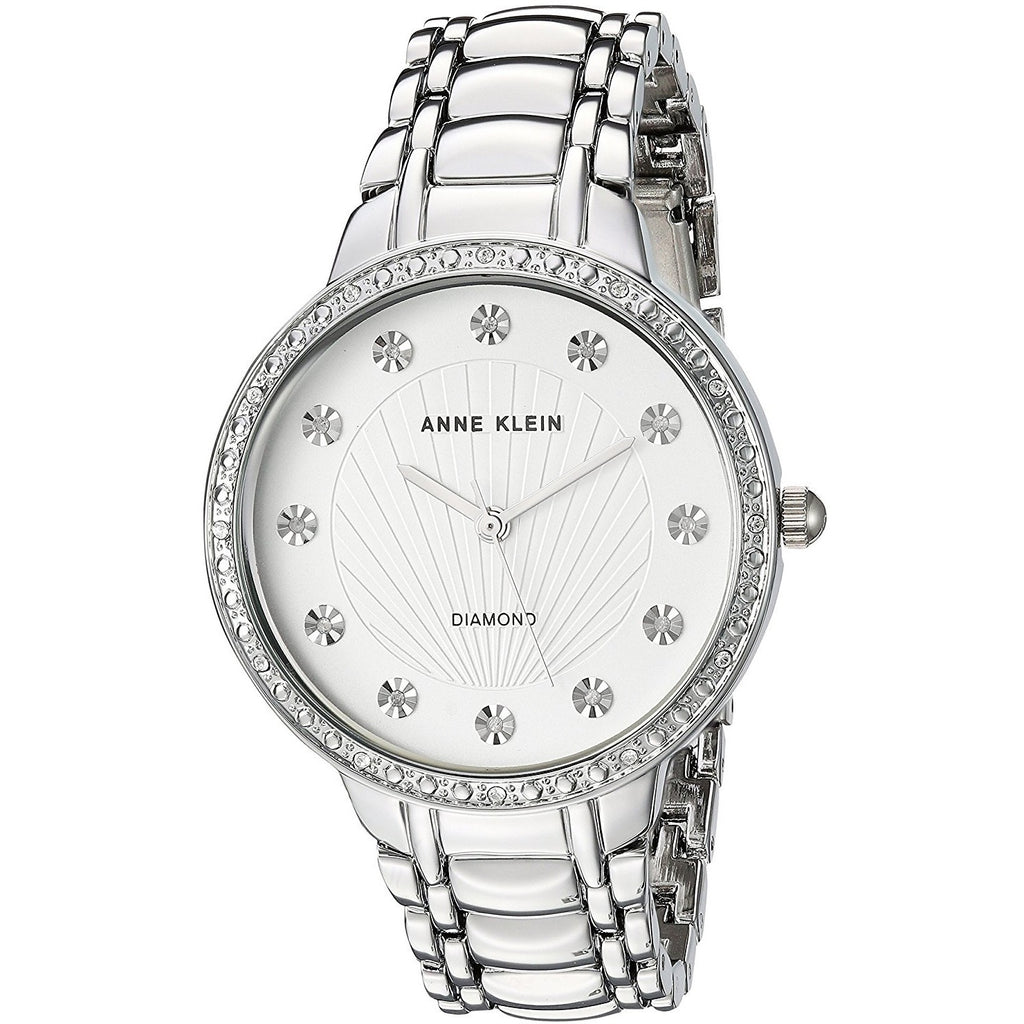 Anne Klein Women's White Dial Silver Band Watch - AK-2781SVSV
